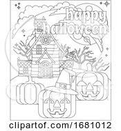 09/30/2019 - Happy Halloween Haunted House Pumpkin Background