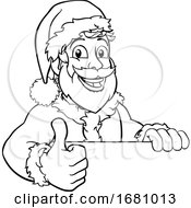 Young Santa Sign Thumbs Up Christmas Cartoon