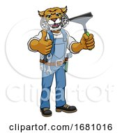 Wildcat Car Or Window Cleaner Holding Squeegee by AtStockIllustration