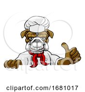 Poster, Art Print Of Bulldog Chef Mascot Sign Cartoon