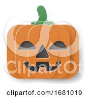 Halloween Cute Pumpkin Cartoon In Papercraft Style