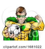 09/30/2019 - Superhero Holding Soccer Ball Sports Mascot