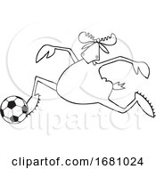Cartoon Moose Playing Soccer