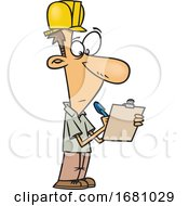 Cartoon Male Building Inspector
