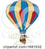 Cartoon Man In A Hot Air Balloon