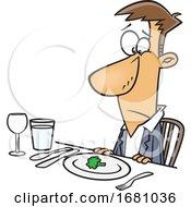 Cartoon Unhappy Man At A Diner
