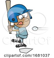 Cartoon Little Leaguer Baseball Boy