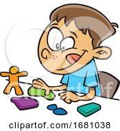 Poster, Art Print Of Cartoon Boy Playing With Playdough