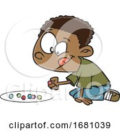 Poster, Art Print Of Cartoon Boy Playing With Marbles