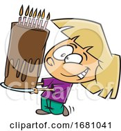 Cartoon Girl Carrying A Tall Birthday Cake