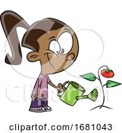 Cartoon Girl Watering A Tomato Plant