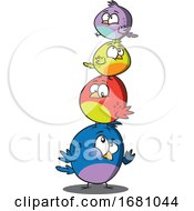 Cartoon Bird Family In A Stack