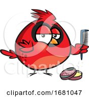 Cartoon Cardinal Bird With Feather Paste And A Comb