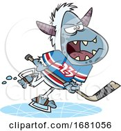 Cartoon Yeti Playing Hockey