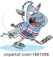 Cartoon Yeti Playing Hockey
