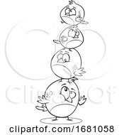 Cartoon Outline Bird Family In A Stack