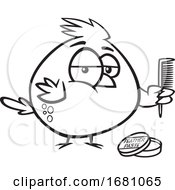 Cartoon Outline Cardinal Bird With Feather Paste And A Comb