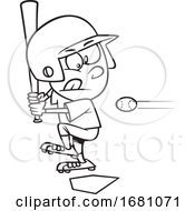 Cartoon Outline Little Leaguer Baseball Boy