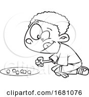 Cartoon Outline Boy Playing With Marbles