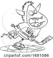 Cartoon Outline Yeti Playing Hockey