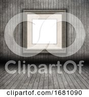 3D Grunge Wooden Room Interior With Blank Picture Frame