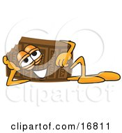 Clipart Picture Of A Chocolate Candy Bar Mascot Cartoon Character Resting His Head On His Hand by Toons4Biz