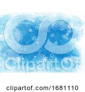 Christmas Snowflakes On Watercolour Texture Background 0409