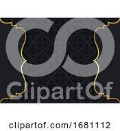 Elegant Background With Damask Pattern And Gold Frames