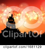 Halloween Background With Spooky Castle Landscape