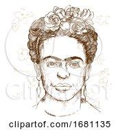 Sketched Portrait Of Frida Kahlo