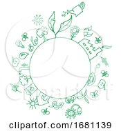 Poster, Art Print Of Sketched Circle Frame With Eco Symbols