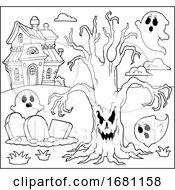 Creepy Tree And Ghosts By A Haunted House