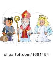 Saint Nicholas Angel And Krampus