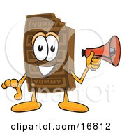 Clipart Picture Of A Chocolate Candy Bar Mascot Cartoon Character Holding A Megaphone by Toons4Biz