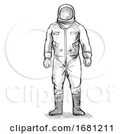 Vintage Astronaut Or Spaceman Cartoon Retro Drawing
