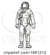 Vintage Astronaut Or Spaceman Cartoon Retro Drawing