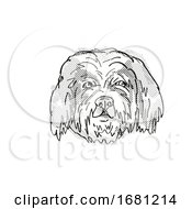 Poster, Art Print Of Cavachon Dog Breed Cartoon Retro Drawing