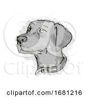 Chesapeake Bay Retriever Dog Breed Cartoon Retro Drawing
