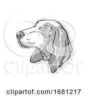 Bracco Italiano Dog Breed Cartoon Retro Drawing