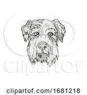 Poster, Art Print Of Cesky Terrier Dog Breed Cartoon Retro Drawing