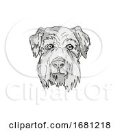 Cesky Terrier Dog Breed Cartoon Retro Drawing