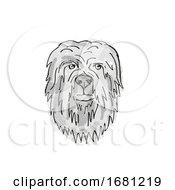 Poster, Art Print Of Briard Dog Breed Cartoon Retro Drawing