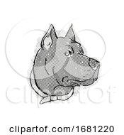 Poster, Art Print Of Cane Corso Dog Breed Cartoon Retro Drawing