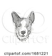Cardigan Welsh Corgi Dog Breed Cartoon Retro Drawing