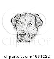 Poster, Art Print Of Catahoula Bulldog Or American Mastahoulas Dog Breed Cartoon Retro Drawing