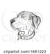 Poster, Art Print Of Catahoula Leopoard Dog Breed Cartoon Retro Drawing