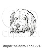 Poster, Art Print Of Goldendoodle Dog Breed Cartoon Retro Drawing