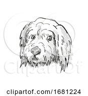 Goldendoodle Dog Breed Cartoon Retro Drawing
