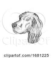 Gordon Setter Dog Breed Cartoon Retro Drawing