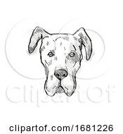 Poster, Art Print Of Great Dane Dog Breed Cartoon Retro Drawing